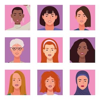 Ilustração de nove personagens de meninas bonitas