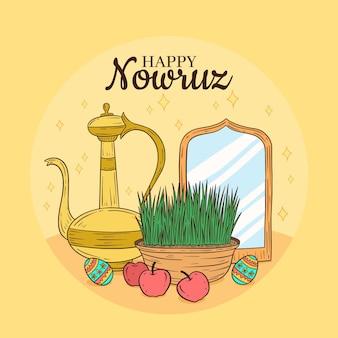 Ilustração de nowruz feliz desenhada à mão com brotos e espelho