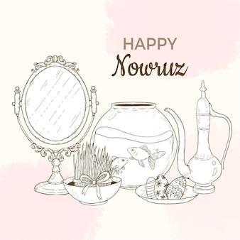 Ilustração de nowruz feliz desenhada à mão com espelho e aquário