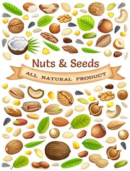 Ilustração de nozes e sementes