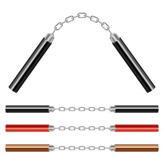Ilustração de nunchaku em fundo branco