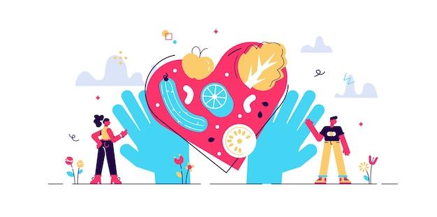 Ilustração de nutrição saudável. coma vegetais para uma boa forma e saúde em pessoas minúsculas. deliciosa e saborosa refeição completa de vitaminas com produtos alimentares crus. placa de forma de coração.