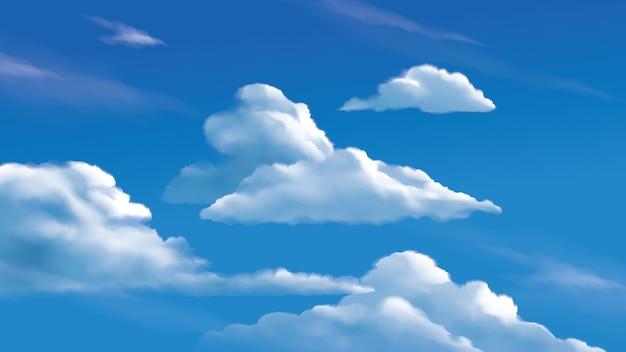 Ilustração de nuvens estratocúmulos no céu azul brilhante Vetor Premium