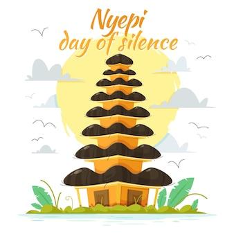 Ilustração de nyepi desenhada à mão