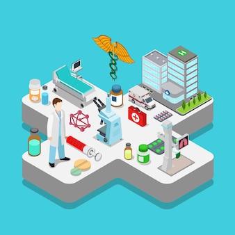 Ilustração de objetos de isometria plana 3d em vetor de saúde de hospital