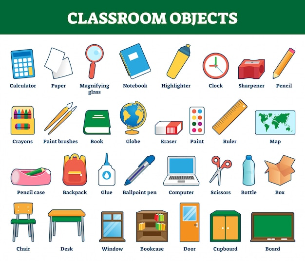 Ilustração de objetos de sala de aula. coleção rotulada para crianças aprendendo