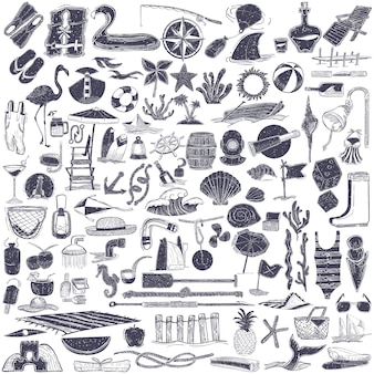 Ilustração de objetos de verão e praia