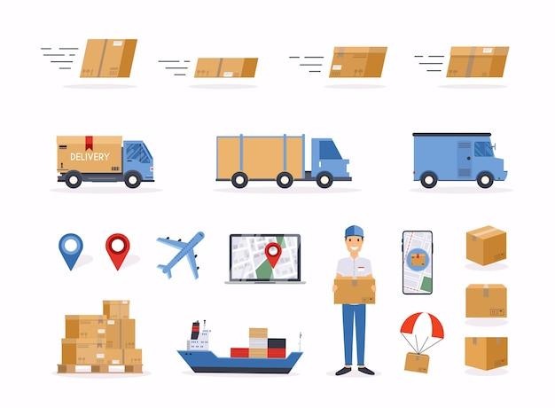 Ilustração de objetos relacionados ao envio