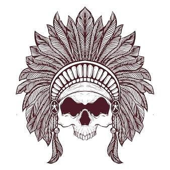 Ilustração de obras de arte cabeça de caveira nativa