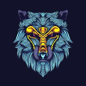 Ilustração de obras de arte cabeça de lobo