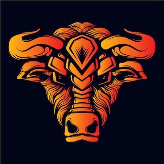Ilustração de obras de arte cabeça de touro bravo