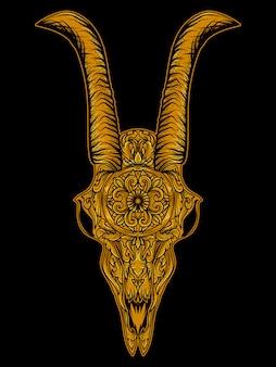 Ilustração de obras de arte crânio caveira