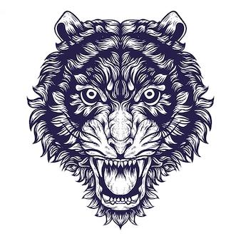 Ilustração de obras de arte de cara de tigre asiático