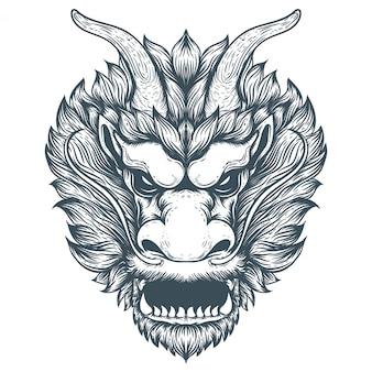 Ilustração de obras de arte de dragão chinês