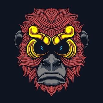 Ilustração de obras de arte de macaco de cabelos vermelhos