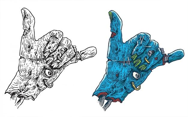Ilustração de obras de arte de mão de zumbi de boas vibrações para adesivo ou vestuário