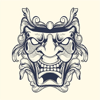 Ilustração de obras de arte de máscara de rosto de máscara ornamental