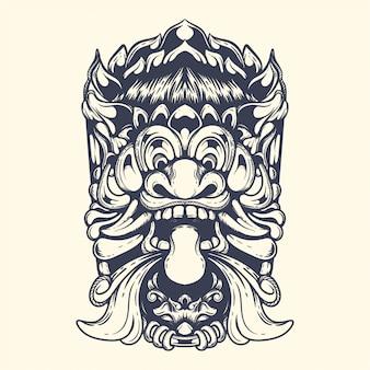 Ilustração de obras de arte de mitologia de demônio barong balinesa