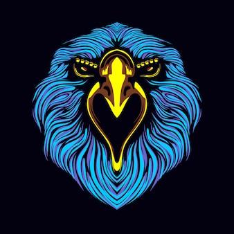 Ilustração de obras de arte de rosto de águia
