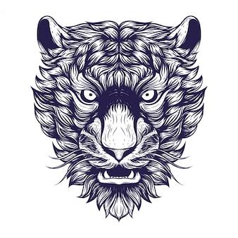 Ilustração de obras de arte de rosto de tigre siberiano
