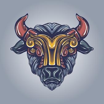 Ilustração de obras de arte de touro
