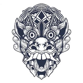 Ilustração de obras de arte do diabo balinesa