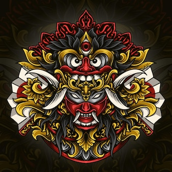 Ilustração de obras de arte e design de t-shirt máscara de barong balinês x oni japonês