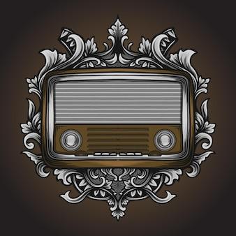 Ilustração de obras de arte e ornamento clássico de gravura de rádio de camiseta