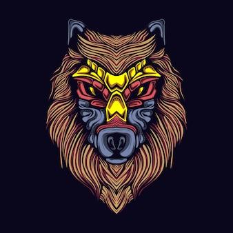 Ilustração de obras de arte lobo com máscara