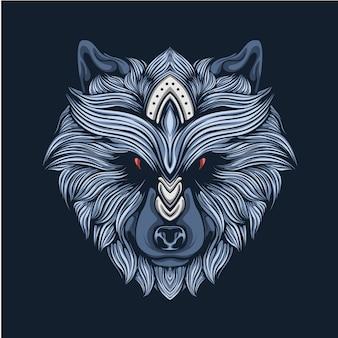 Ilustração de obras de arte lobo prateado