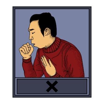 Ilustração de obras de arte maneira errada de tossir