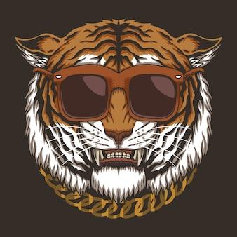 Ilustração de óculos de cabeça de tigre