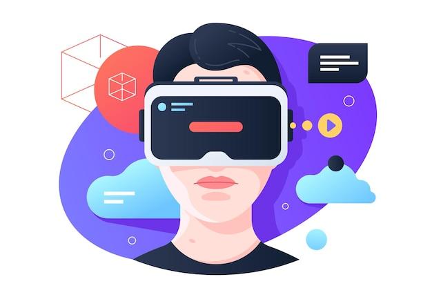 Ilustração de óculos de realidade virtual. jovem rapaz se divertindo, vestindo estilo simples de entretenimento moderno. tempo livre e conceito de passatempo. isolado