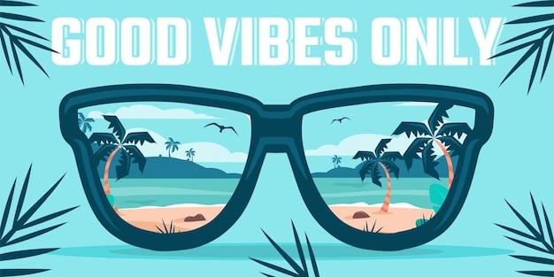 Ilustração de óculos de sol na praia