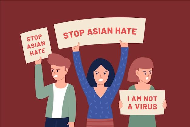 Ilustração de ódio asiático de parada plana orgânica