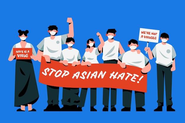 Ilustração de ódio asiático de parada plana