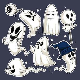 Ilustração de oito expressões diferentes e engraçadas de fantasmas