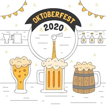 Ilustração de oktoberfest com caneca e copo