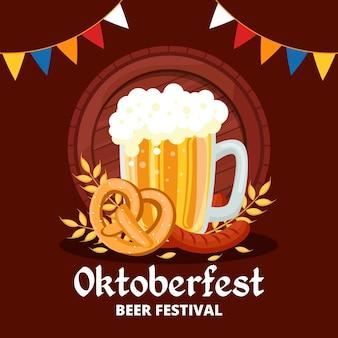 Ilustração de oktoberfest com cerveja e guirlandas