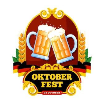 Ilustração de oktoberfest com pintas de cerveja