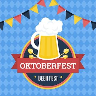 Ilustração de oktoberfest com uma caneca de cerveja e guirlandas