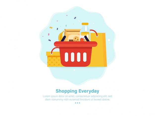 Ilustração de onboarding de cesta carrinho de compras