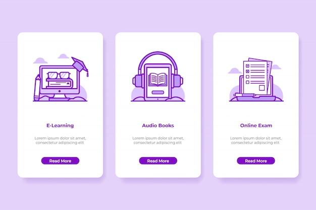 Ilustração de onboarding de educação on-line