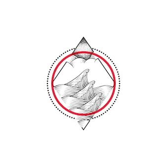 Ilustração de onda do mar