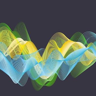 Ilustração de ondas dinâmicas, fundo abstrato. imagem de estilo criativo e elegante