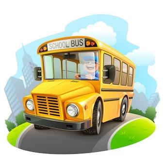 Ilustração de ônibus escolar amarelo engraçado