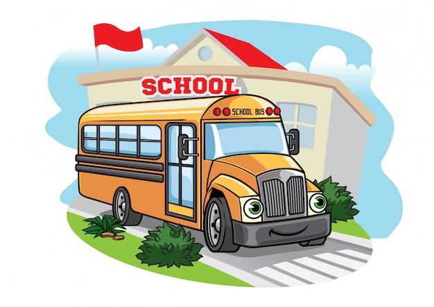 Ilustração de ônibus escolar dos desenhos animados na escola