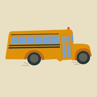 Ilustração de ônibus escolar em estilo simples de desenho animado