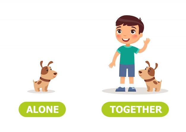 Ilustração de opostos sozinhos e juntos.