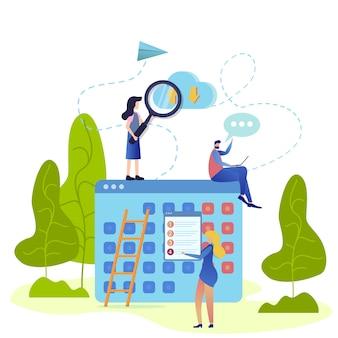 Ilustração de organização de horário de serviço em nuvem